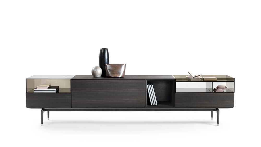 Flexform cabinet Jeremy madera oscura y cristal