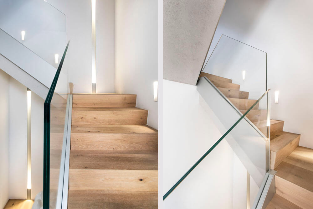 Mobiliario de diseño Rimadesio escalera con revestimiento Cementino Proyecto integral interiorismo los Madroños