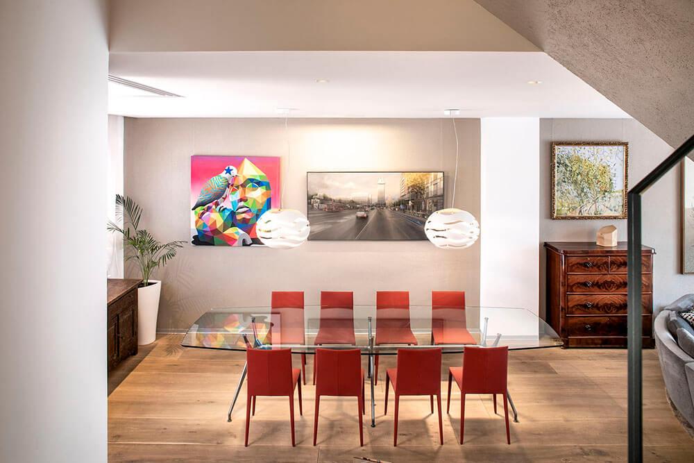 Mobiliario de diseño Rimadesio Mesa manta Proyecto integral interiorismo los Madroños