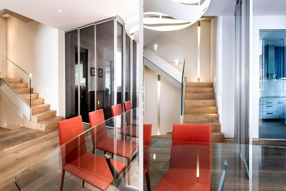 Mobiliario de diseño Rimadesio Mesa Manta y Paneles Velaria Proyecto integral interiorismo los Madroños
