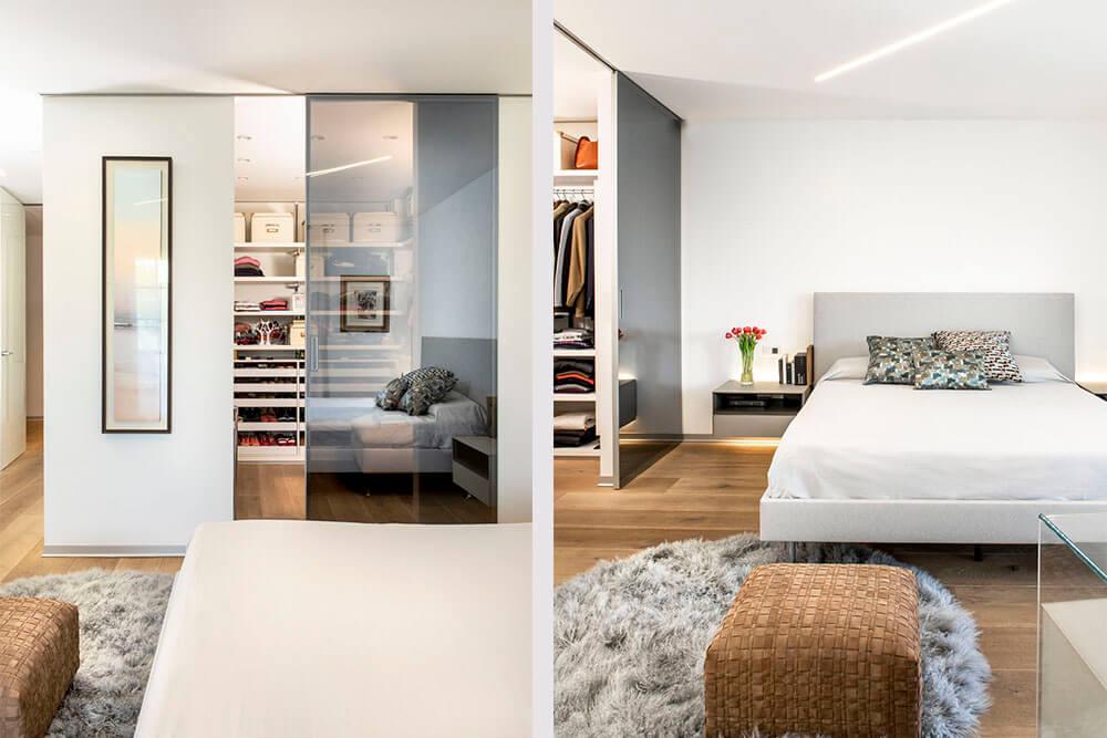 Mobiliario de diseño Rimadesio paneles correderos Graphis Light y Puff Flexform Proyecto integral interiorismo los Madroños