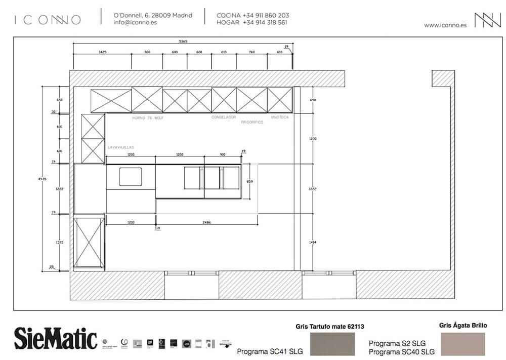 Detalles Plano del Proyecto de Cocina del studio ICONNO en Recoletos