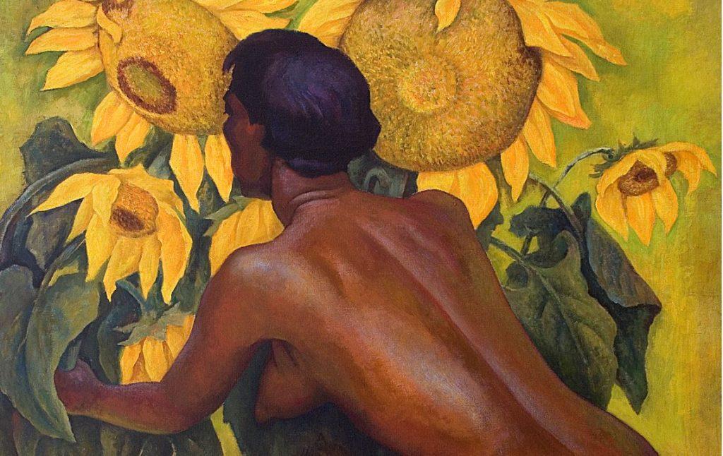 Diego Rivera -mujer de rodillas con girasoles 1946-en la Casa de México en España