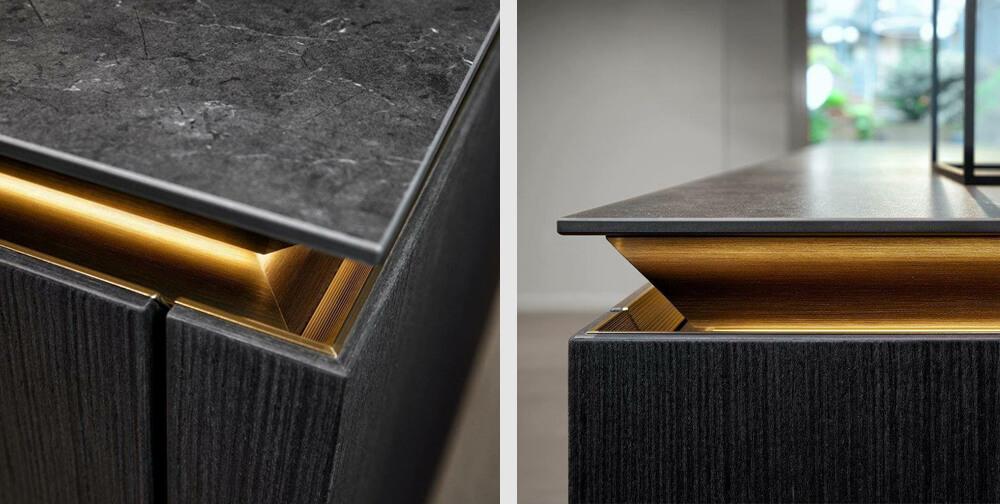 Slx cocinas SieMatic: Detalle de los perfiles de oro