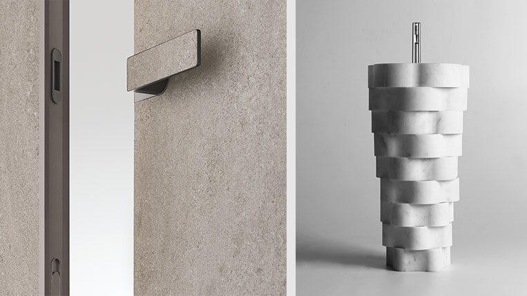 Materias primas contundentes: Puerta Rimadesio y lavabo de Anotonio Lupi intreccio