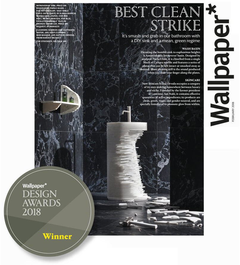 premio wallpaper magazine Antonio Lupi lavabo introverso